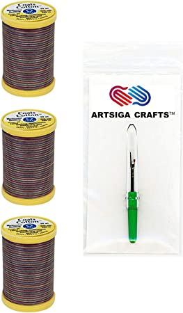 Coats /& Clark Sewing Thread Machine Quilting Multicolor Cotton Thread 225 Yards Plum Shadows Bundle with 1 Artsiga Crafts Seam Ripper S972-0810-3P 3-Pack