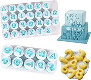 Alphabet Letter Numbers Cake Mould Set, BENBO 36 Pieces Fondant Cake Sugar Craft Cookies Stamp Impress Embosser Plunger Cookie Cutter Mold Biscuit Decorating Tools