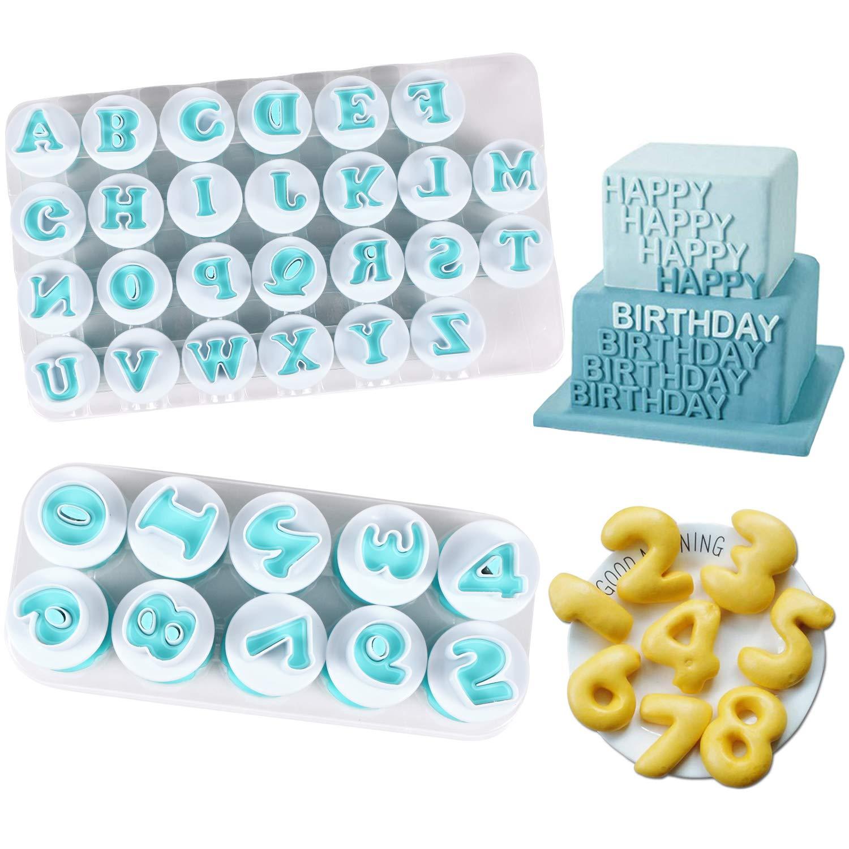 Alphabet Letter Numbers Cake Mould Set, BENBO 36Pcs Fondant Cake Sugar Craft Cookies Stamp Impress Embosser Plunger Cookie Cutter Mold Biscuit Decorating Tools