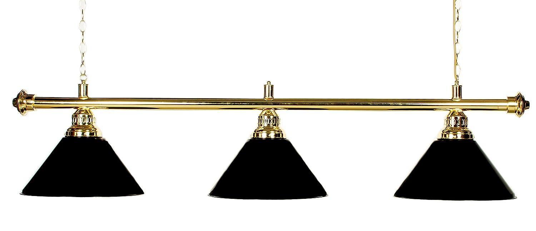 Brass Rod with Burgundy Shades 61-Inch Iszy Billiards Metal Pool Table Light Billiard Lamp