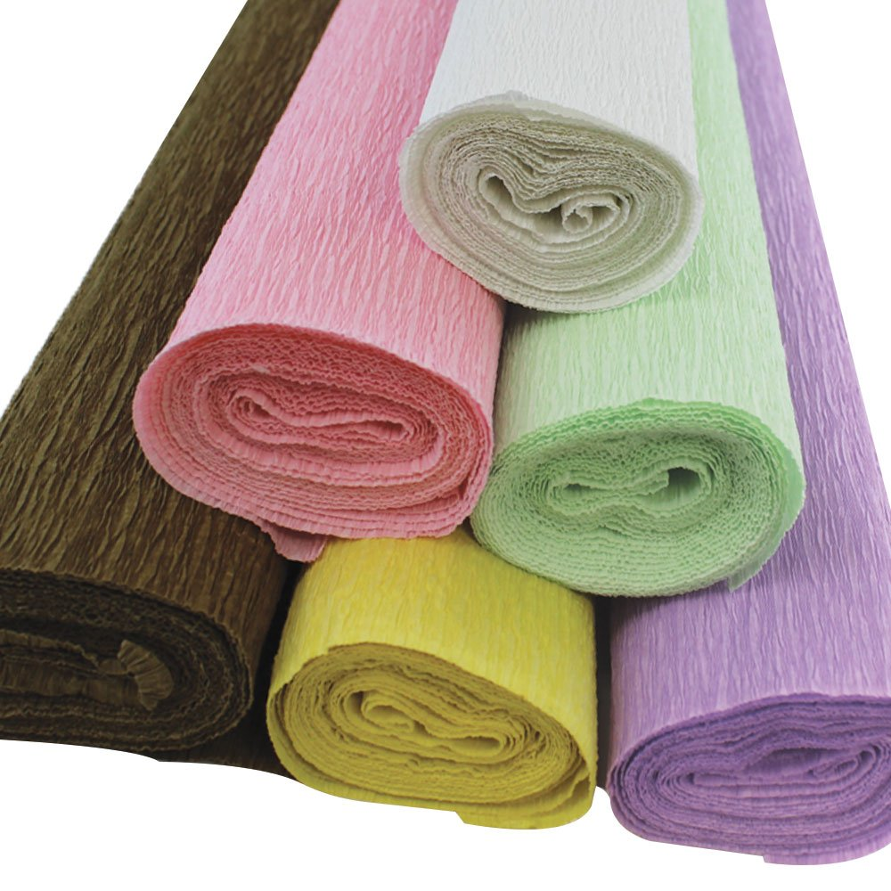 Just Artifacts Premium Crepe Paper Rolls - 8ft Length/20in Width (6pcs, Color Pastels) JustArtifacts.Net