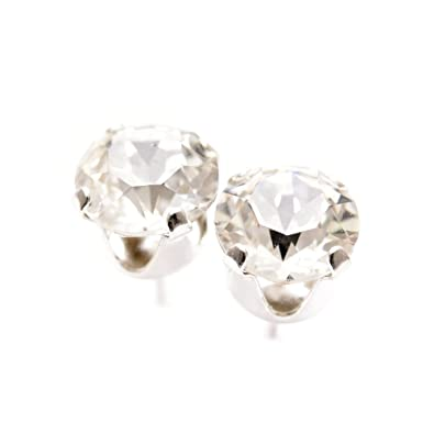 925er Sterling Silber Ohrstecker handgefertigt mit Diamant weiß Kristall  aus SWAROVSKI®.  pewterhooter  Amazon.de  Schmuck 76ff0ebf71