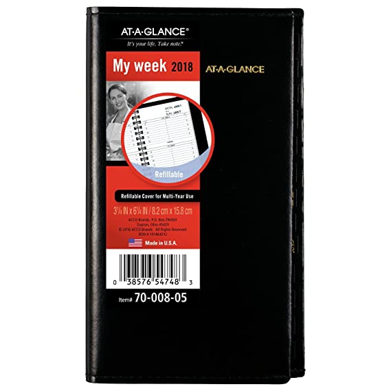 AT-A-GLANCE Weekly Planner 2017 Refill for 70-008, 3-1/4 x 6-1/4