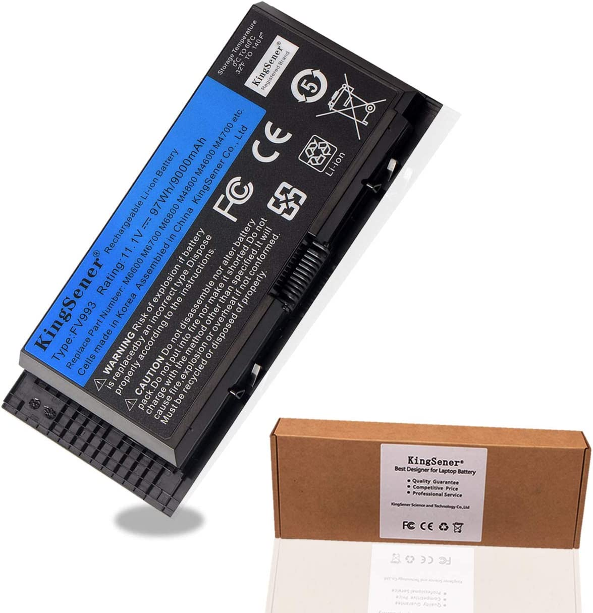KingSener FV993 Battery for Dell Precision Laptop Computer M4600 M4700 M4800 M6600 M6700 M6800, Fit for PG6RC R7PND 0TN1K5 FV993 FJJ4W T3NT1 V7M28 KJ321