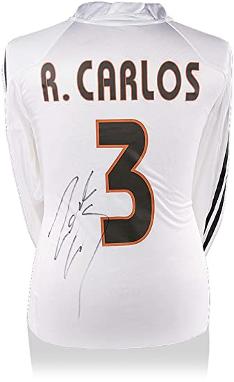 ae009db69 Image Unavailable. Image not available for. Color  Roberto Carlos Real  Madrid Autographed 2004-05 Home Jersey ...
