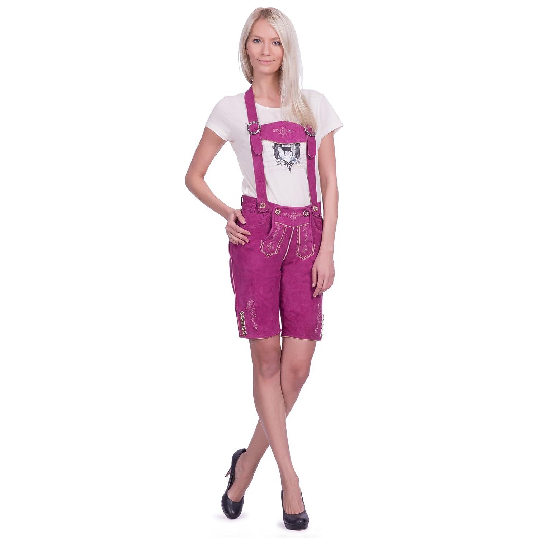 Damen Trachten Lederhose kurz in rapsberry/pink aus Zigenveloursleder verfügbar in Größe 34 bis 46