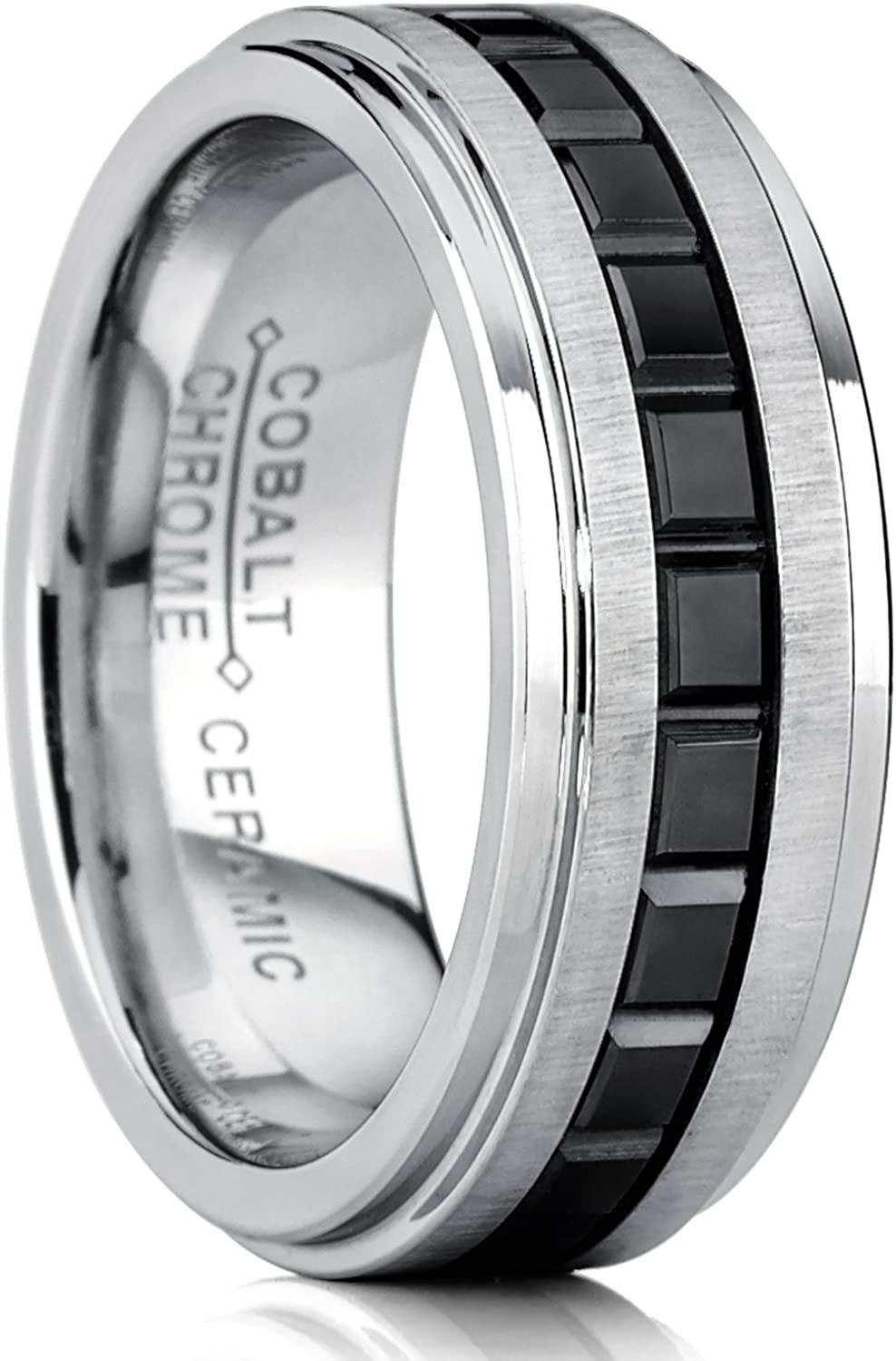 Metal Masters Co. Two Tone Brushed Cobalt Wedding Band Ring with Princess Cut Design Black Ceramic, 8mm Comfort Fit