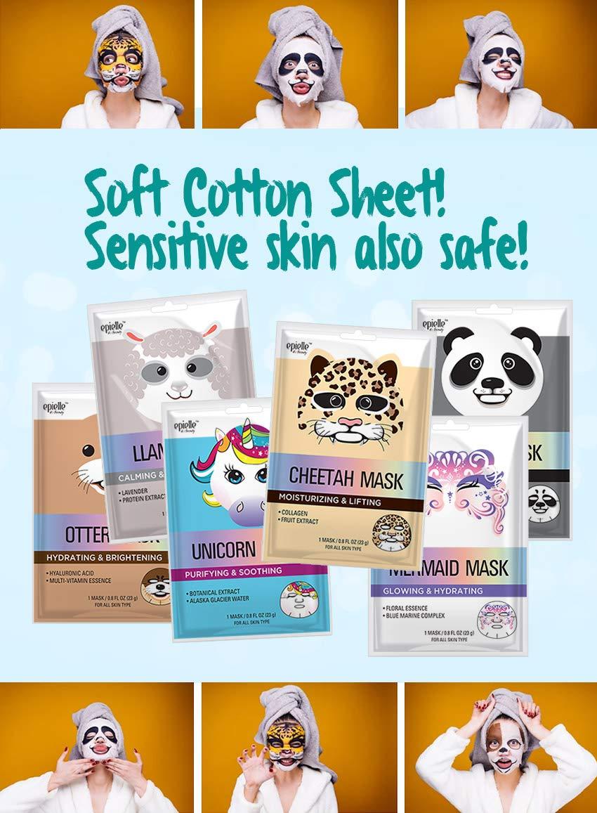 Amazon.com : Epielle Cheetah Character Sheet Facial Mask (6 pack) : Beauty