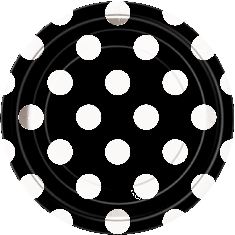 Amazon.com Black Polka Dot Paper Cake Plates 8ct Party Plates Kitchen u0026 Dining  sc 1 st  Amazon.com & Amazon.com: Black Polka Dot Paper Cake Plates 8ct: Party Plates ...