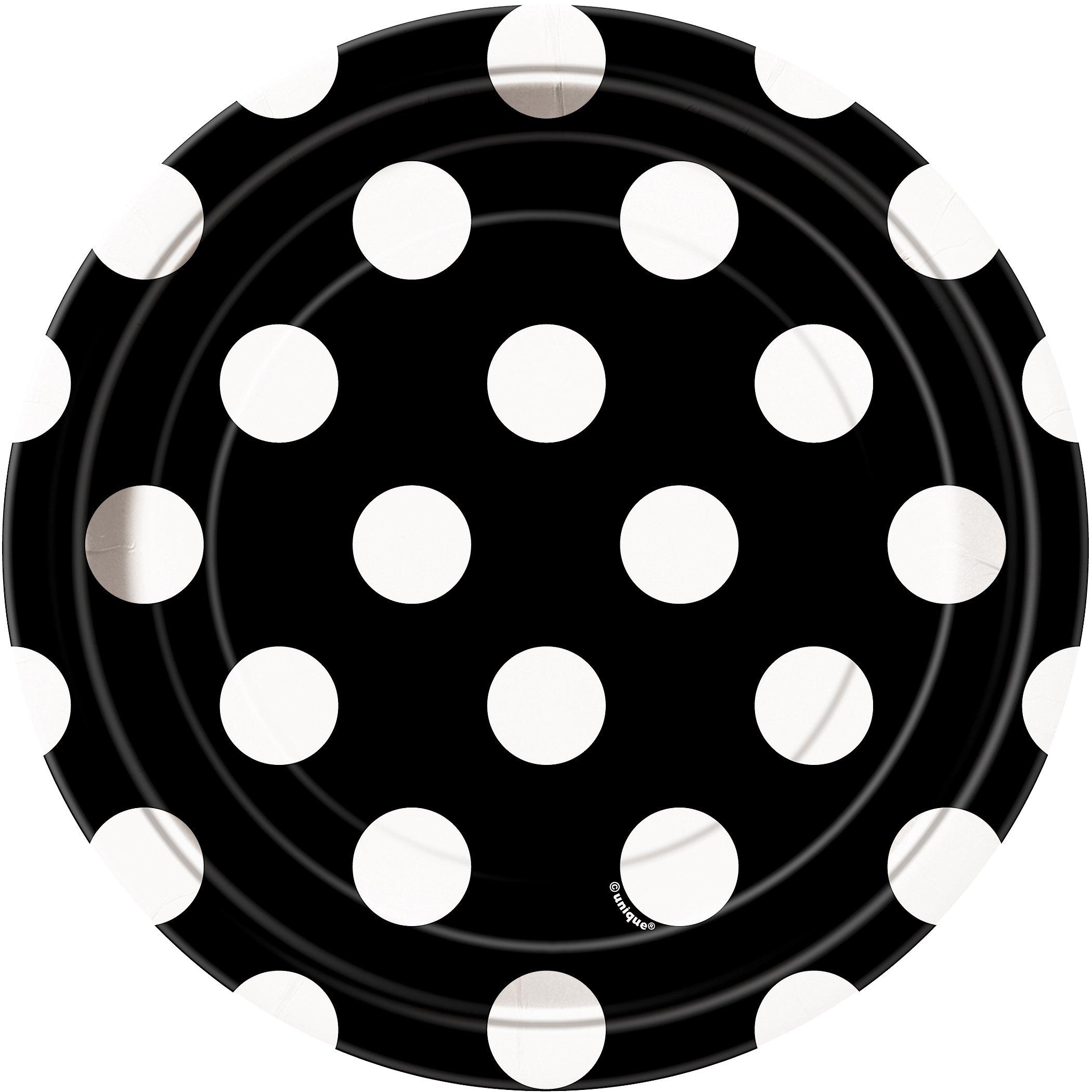 Black Polka Dot Paper Cake Plates, 8ct