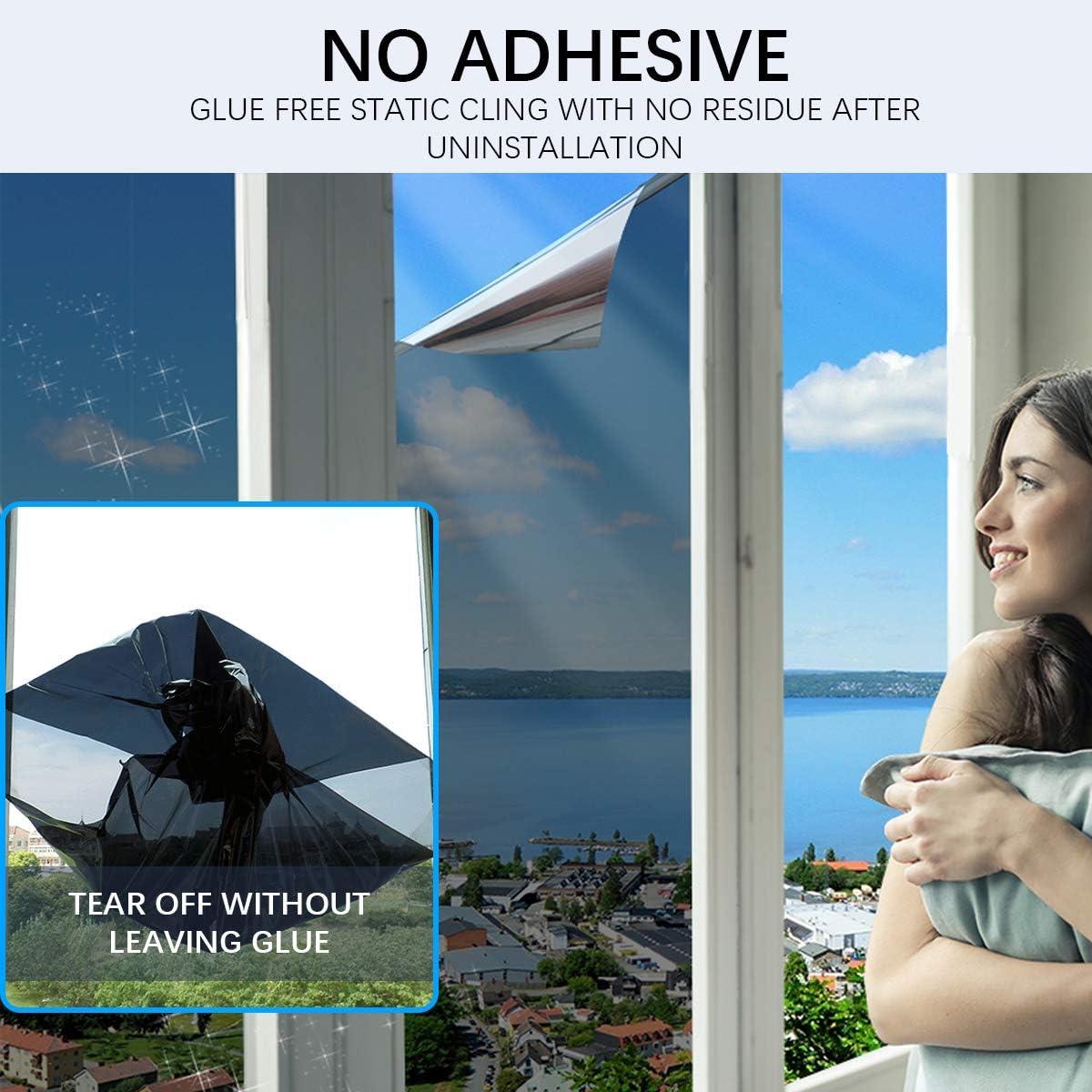 Bilisder Film Miroir Occultant Fen/être sans Tain Protection de Solaire Film/Anti-UV Anti Chaleur Film de Fen/être 60x200cm Noir, 60x400cm