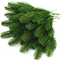 Yarssir 25pcs Artificial Greenery Pine Needle Garland Pine Picks for Christmas Holiday Home Decor, 9.4x4.7 Inches(Green-25 Pack)