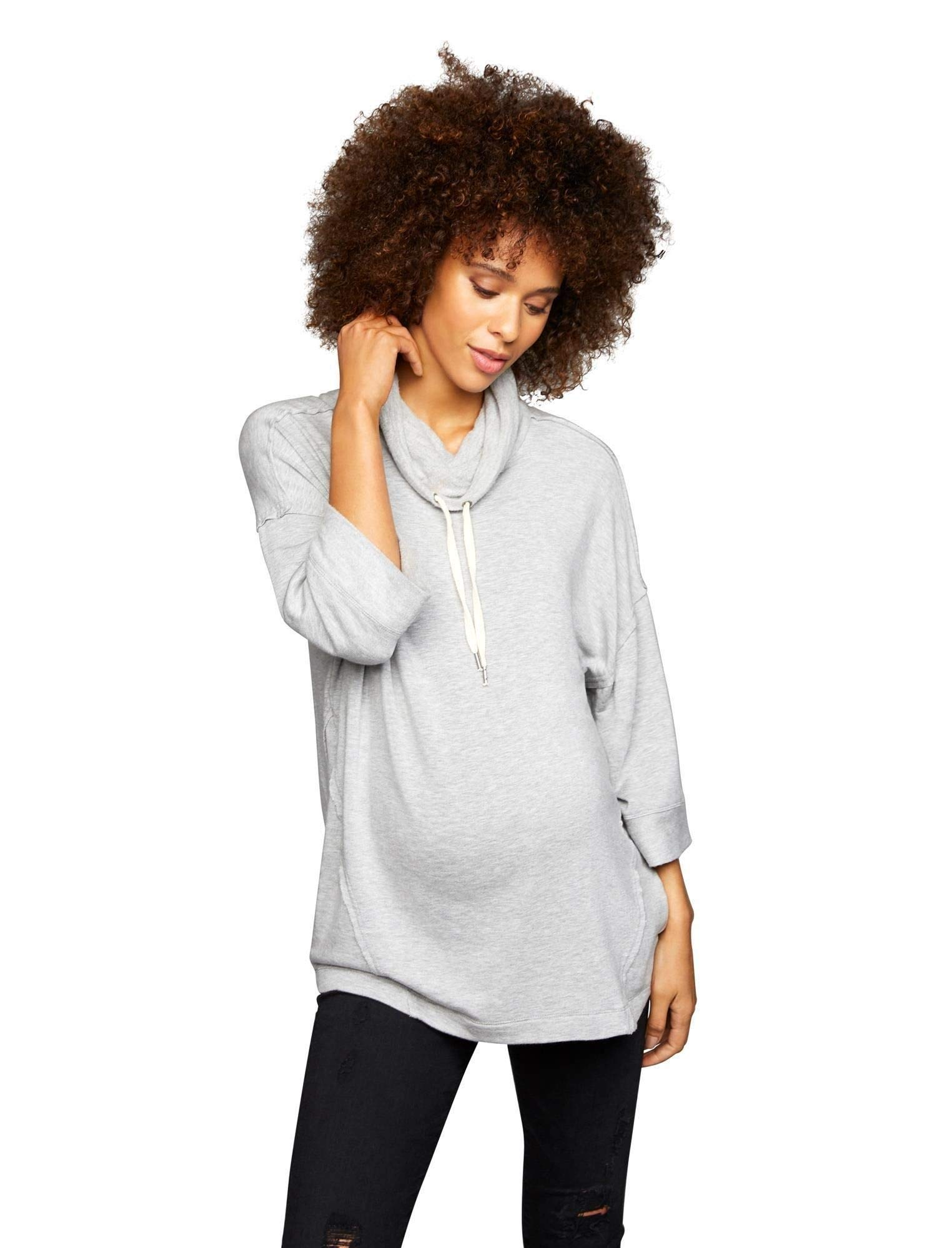 A Pea in the Pod Splendid Drawstring Maternity Hoodie Heather Grey