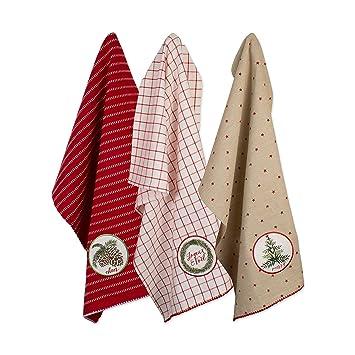DII CAMZ10658 - Juego de 3 toallas de algodón decorativas para Navidad, 45 x 71 cm: Amazon.es: Hogar