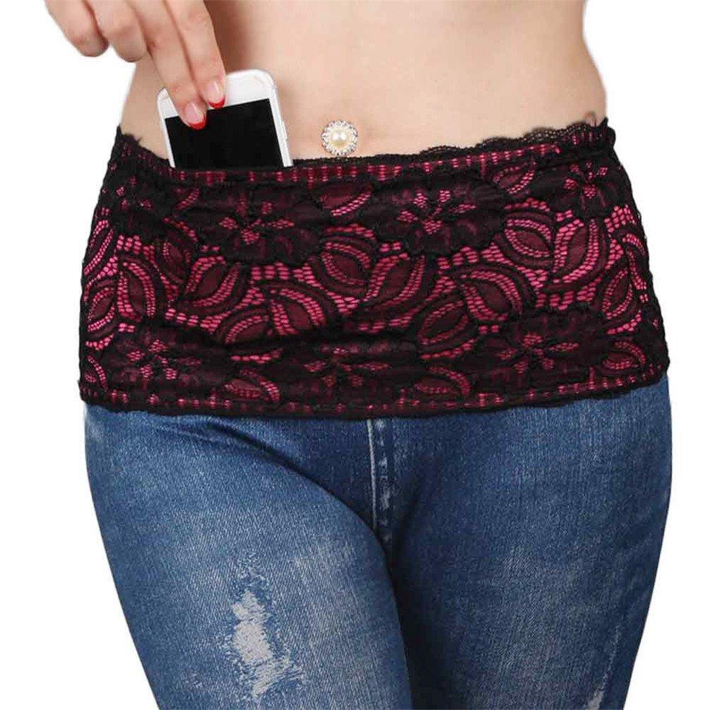 POPLife 1pcs Waist belt and 4 Secured Pockets Stretch Fanny Travel Money Belt Lace Fitness Waist Bag Running Belt, Black, M