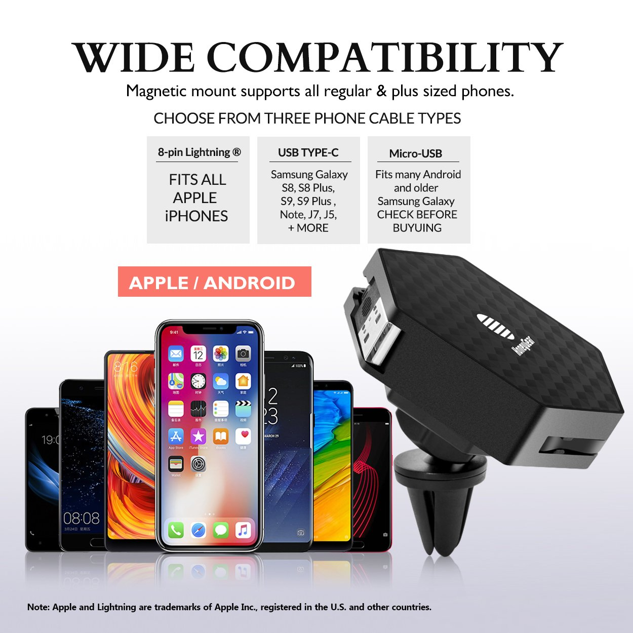 White or Black Magnetic Portable Retractable Cable Car Phone Holder USB-Type-C Micro-USB Magnetic Car Vent Mount Choose Color /& Cable Type 8-pin Connector 4351511213 HoneyGear Flux-Field Grip