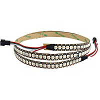 VIPMOON Individuele adresseerbare Full Color LED Pixel Strip, WS2812B SMD5050 144 LEDs/Pixels/m Zwart PCB LED Strip…