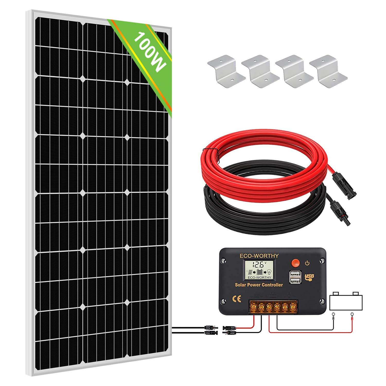Eco Worthy 100 W Monokristallines Solarmodulsystem Set 100 W Solarpanel Mit 20 A Laderegler Für Netzunabhängige 12 V Energieladung Für Wohnmobil Wohnwagen Boot Gewerbe Industrie Wissenschaft