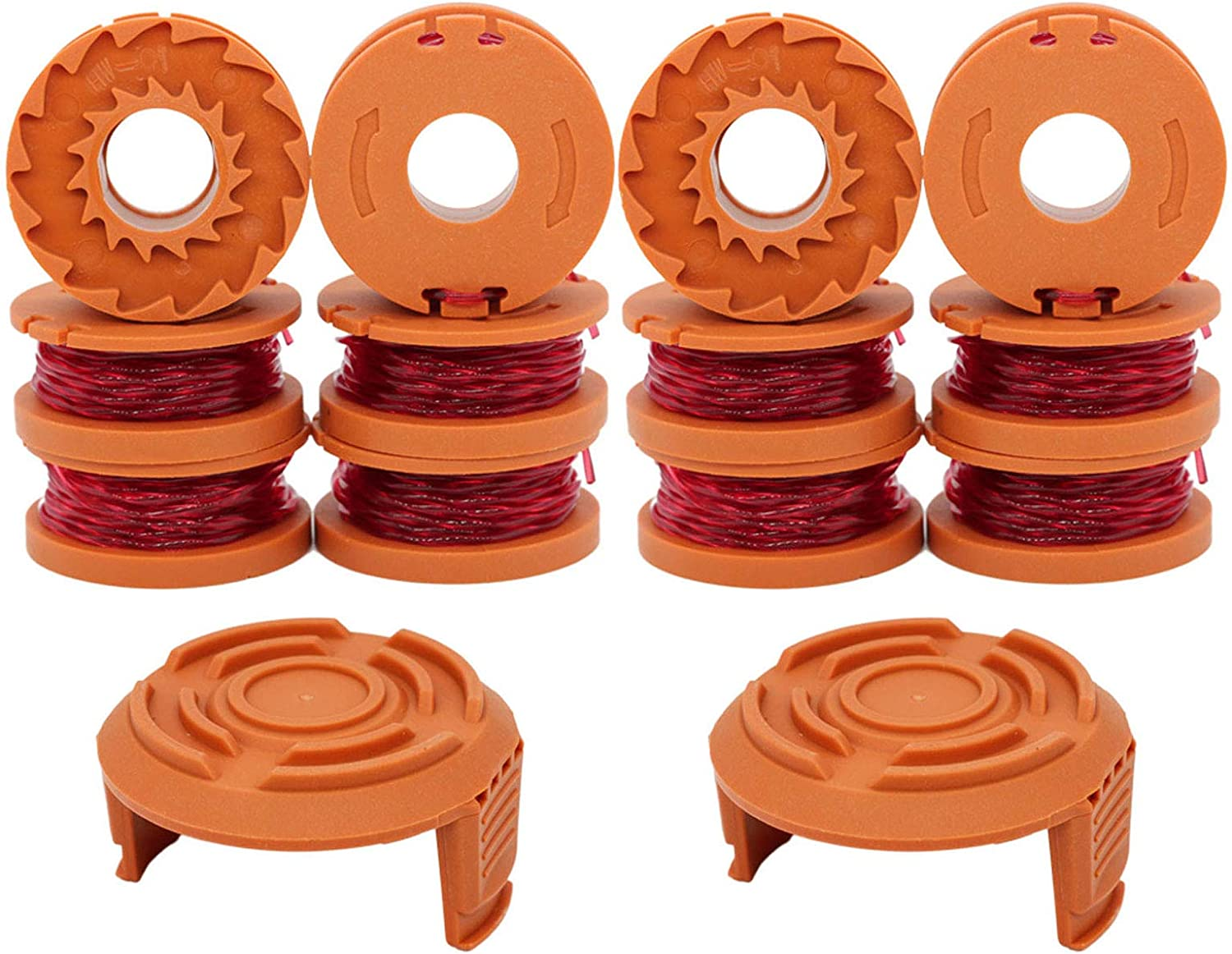 """RONGJU 12-Pack Replacement Trimmer Spool Line for Worx WA0010 WG180 WG163 WG175 Electric Trimmer/Edger Weed Eater Line 10ft 0.065 """"+ 2 Pack Spool Cap Covers (12 Spools, 2 Caps) : Garden & Outdoor"""
