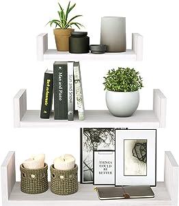 SRIWATANA Floating Shelves Wall Mounted, Solid Wood Wall Shelves (White Washed Finish)