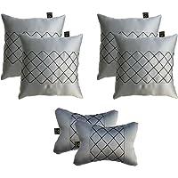 Lushomes Premium Grey Car Set (4 pcs Cushions & 2 pcs Neck rest Pillow) with Artistic Stitch
