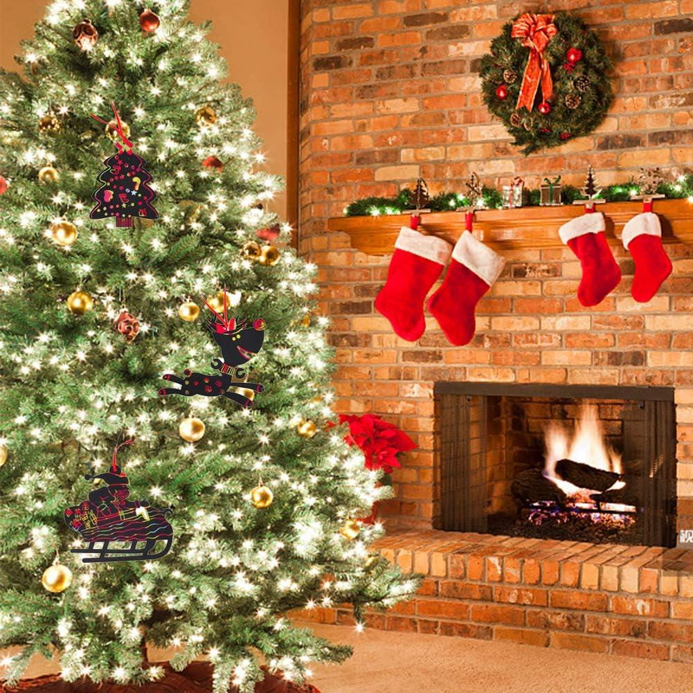 ENSTAB 35 St/ück Weihnachten Kratzbilder Kinder Weihnachtsbaum Schmuck Regenbogen Papier Kratzpapier Set Weihnachten Party Mitgebsel f/ür Jungen M/ädchen
