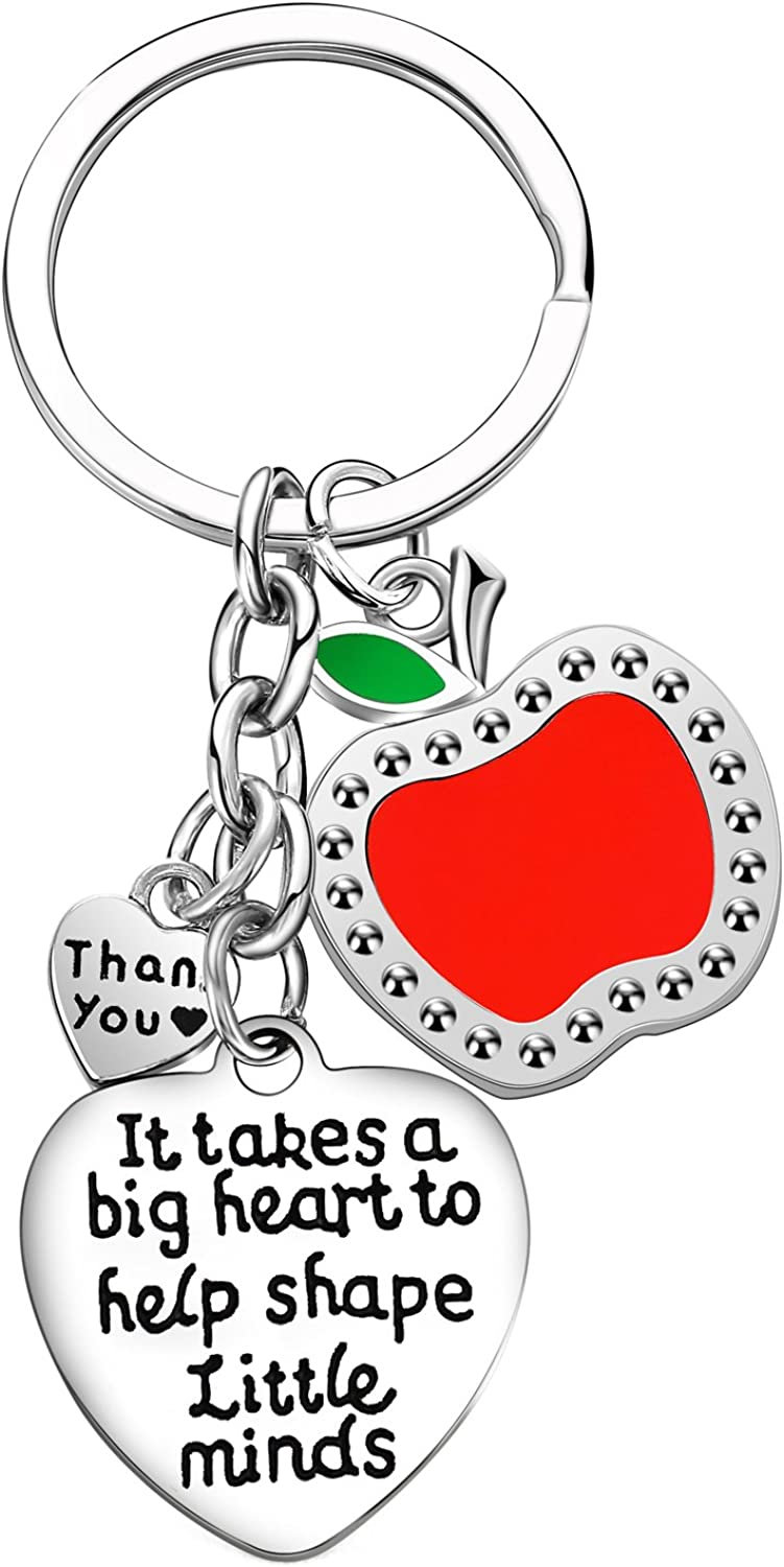Teacher Appreciation Gift It Takes A Big Heart To Help Shape Little Minds Heart Charms Keychain