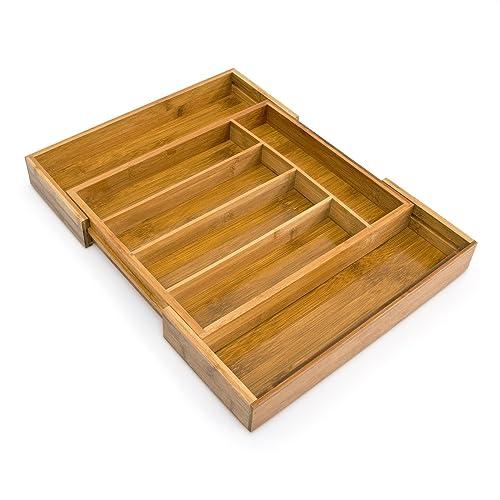 Relaxdays 10016098  Range-Couverts extensible en Bambou de 5 à 7 compartiments HxlxP : 5 x 48,5 x 37 cm tiroir de cuisine ajustable de 31 à 48,5 cm organiseur de tiroir réglable pratique, nature