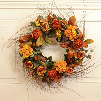 30 Quot Large Home Decor Fall Wreath With Rust And Gold Silk Flowers By Floral Home