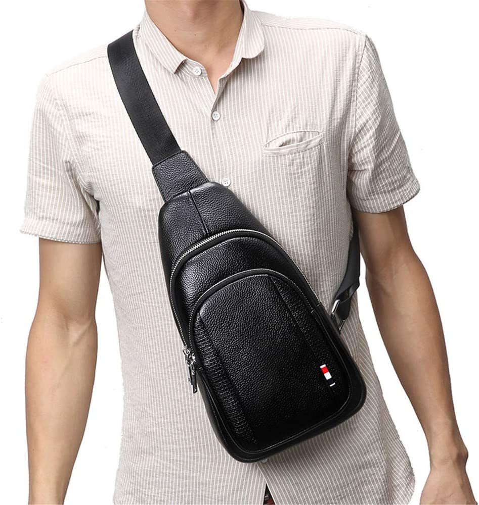 FeliciaJuan Men Multipurpose Leather Chest Bag with Headphone Cable Hole Sling Bag Crossbody Bags Chest Pack Single Shoulder Backpack Causal Daypacks for Hiking Cycling Travel Color : Black