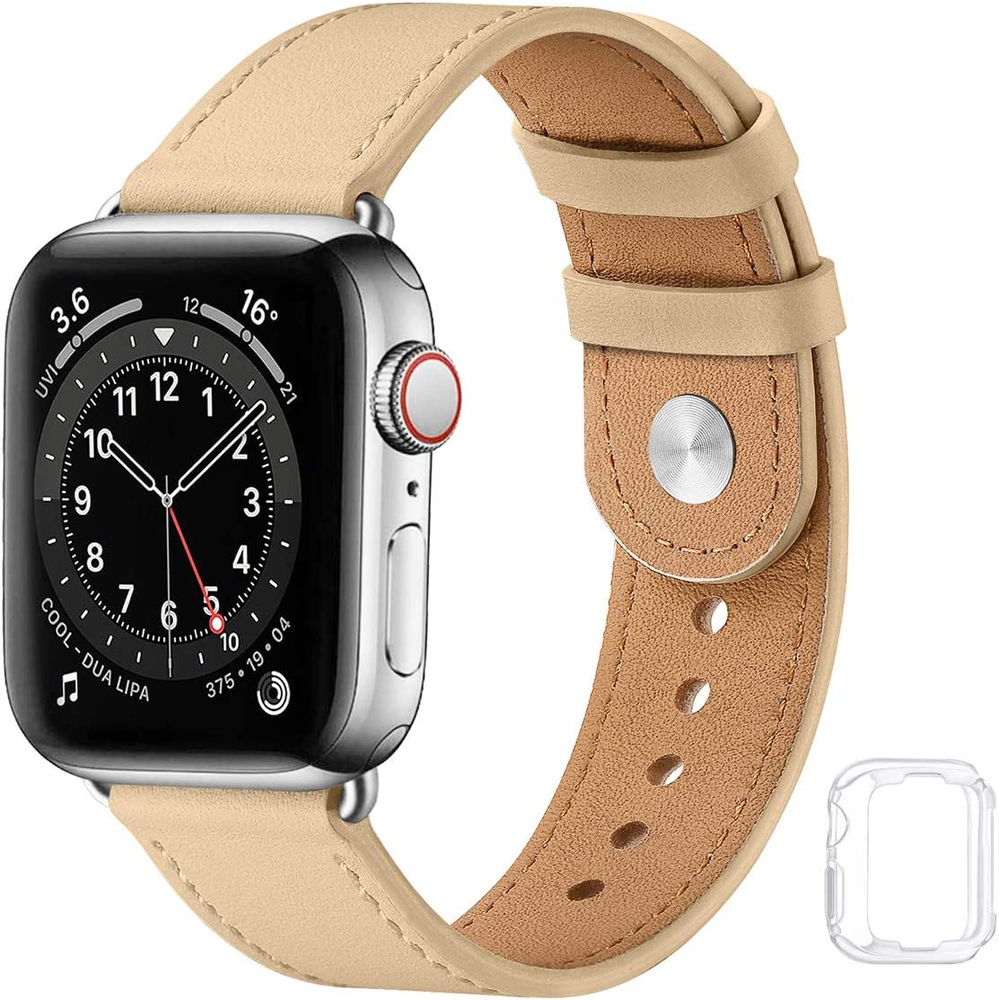 Soft Leather Watch Bands Compatible with Apple Watch Band 38mm 40mm 42mm 44mm, Special Watch Band Replacement Strap for Women Men for iWatch SE Series 6 5 4 3 2 1 (Light tan with Silver, 42MM/44MM)