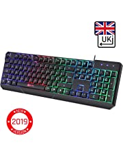 KLIM Chroma Gaming Keyboard - [ QWERTY UK LAYOUT ] - Wired Backlit LED Rainbow Lighting - Slim, Durable, Ergonomic, Quiet, Waterproof, Silent Keys - RGB Laptop PC Gamer PS4 Mac - Black
