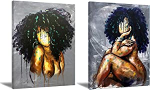 African American Wall Art Black Woman Canvas Wall Art Abstract Black Girl Wall Art Poster Modern African Wall Art Decor Artwork For Living Room Bedroom Home Office Decor Unframed