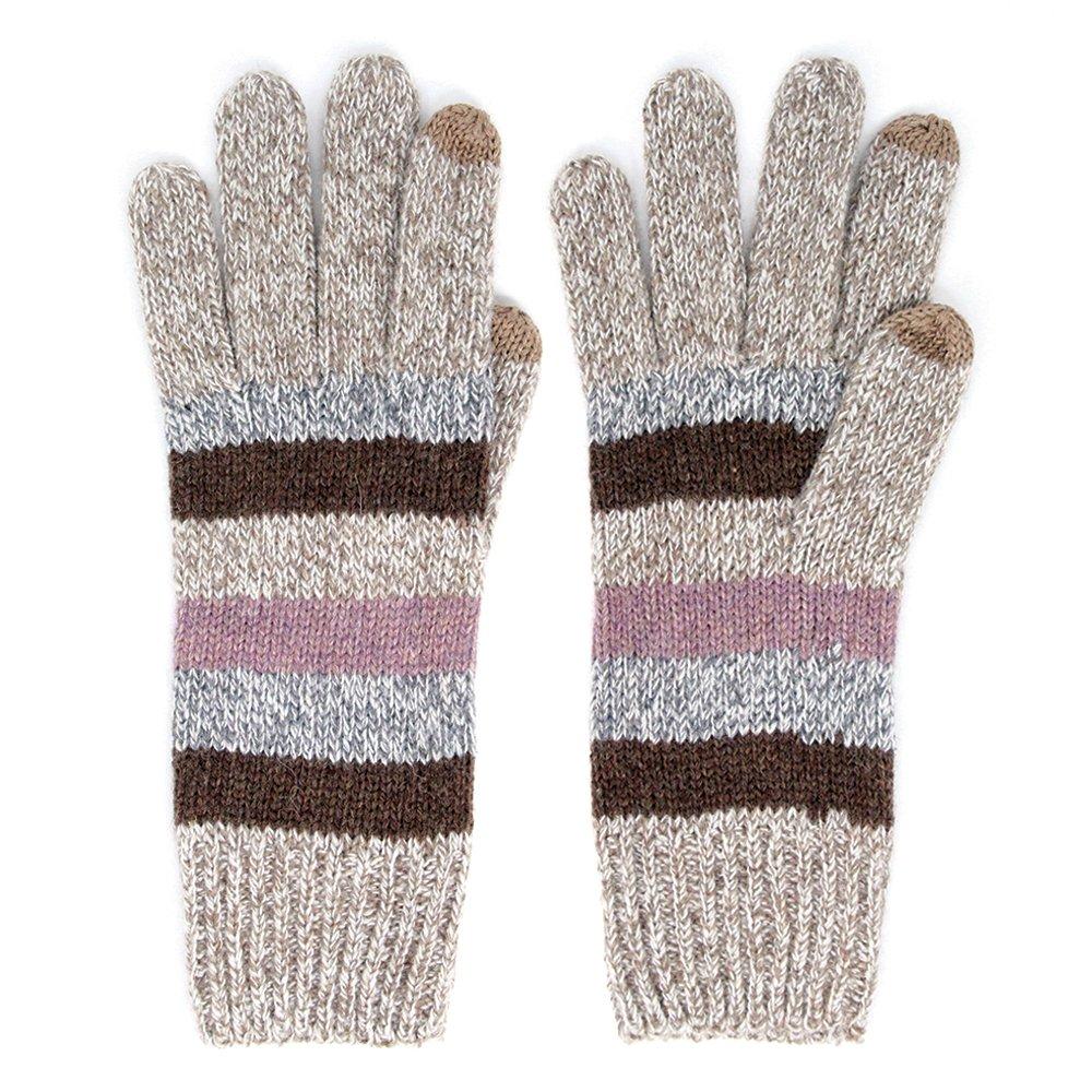BYSUMMER Womens Wool Blend Multi Stripe Touch Screen Smart Tip Winter Gloves (Beige)
