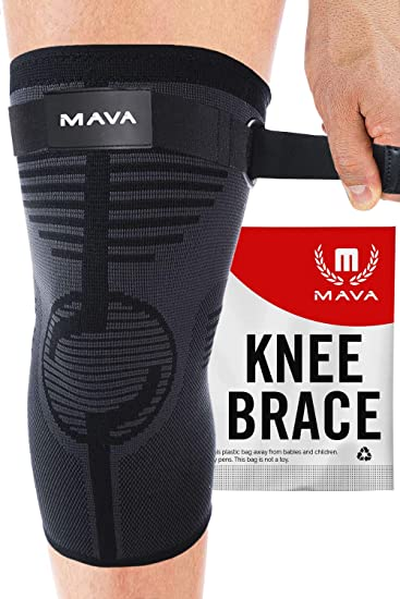 Amazon Com Mava Knee Sleeve Knee Support With Adjustable Strap Does Not Roll Down Compression Knee Brace For Men Women Weightlifting Running Workout Acl Pain Relief Check Sizing Chart