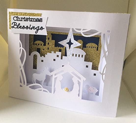 Handmade Religious Christmas Cards.Nativity Christmas Cards Quantity 10 Pop Up Christmas