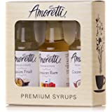 Amoretti Premium Tropical Syrups 50ml 3 Pack (Coconut Cream, Jamaican Rum, Passion Fruit)