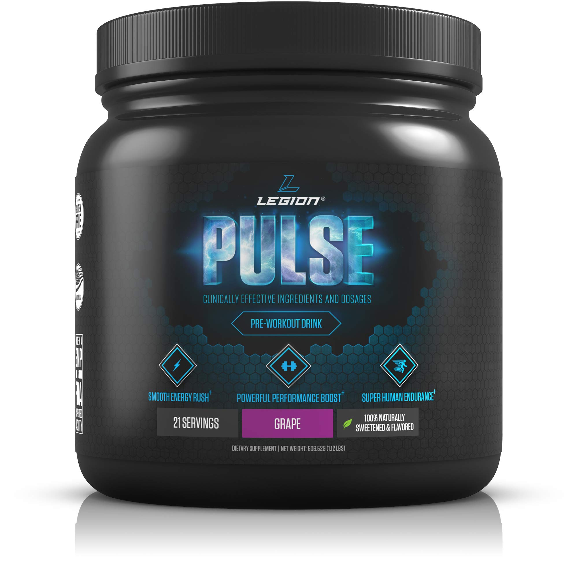 Legion Pulse Pre Workout Supplement - All Natural Nitric Oxide Preworkout Drink to Boost Energy & Endurance. Creatine Free, Naturally Sweetened & Flavored, Safe & Healthy. Grape, 21 Servings by Legion Athletics