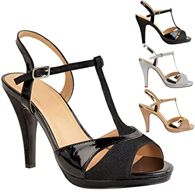 0da6288fe428 Womens Wedding Party Shoes Ladies Mid High Heels Bridal Sparkly Sandals  Size New