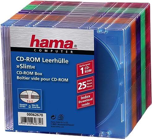 Hama Cd Rom Leerhüllen Slim 25er Pack Farblich Computer Zubehör