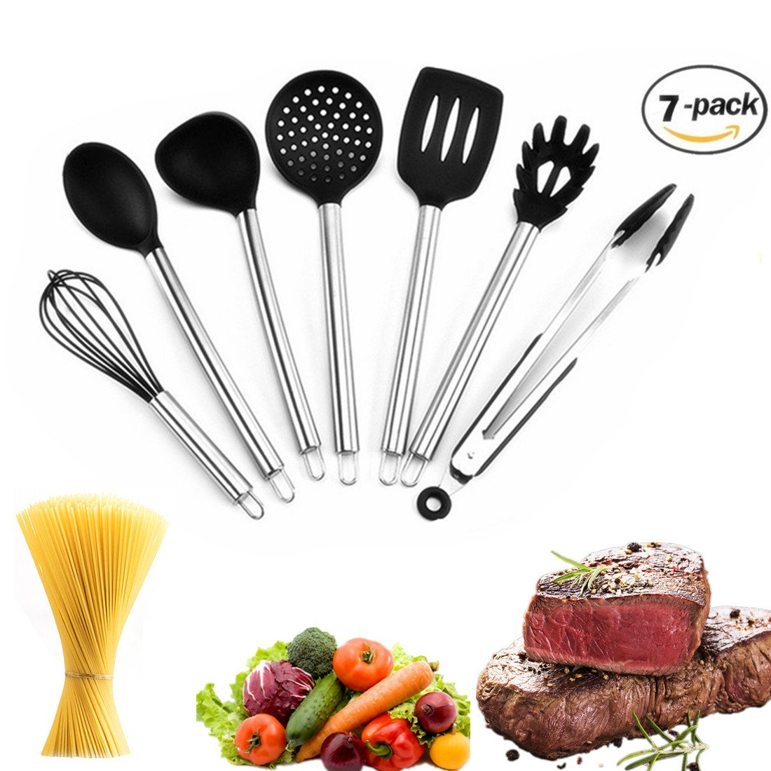 Kitchen Utensils Set Silicone Cooking Utensil - 7 Piece Stainless Steel Handle Utensils for Nonstick Pots Pans Utensil Set Including Turner Spaghetti Server Skimmer Serving Spoon Ladle Food Tong Whisk (7 pcs utensils set) Love your kitchen