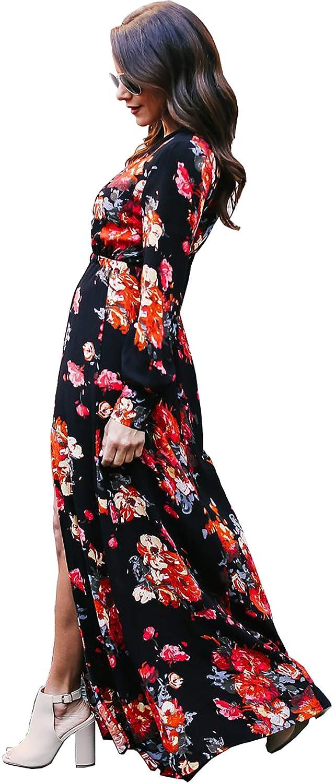 Vestido de c/óctel de Manga Larga con Cuello en V con Cuello Redondo y Estampado Floral Vestido Largo de Manga Larga Vintage Dividida con cintur/ón de Boho