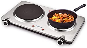 GIVENEU 1800W Electric Stove for Cooking, Portable Electric Burners Stove, Cast-Iron Double Burner with 6 Speed Adjustable Thermostats, Stainless Steel Hot Plate for Kitchen, Dorm and Camping