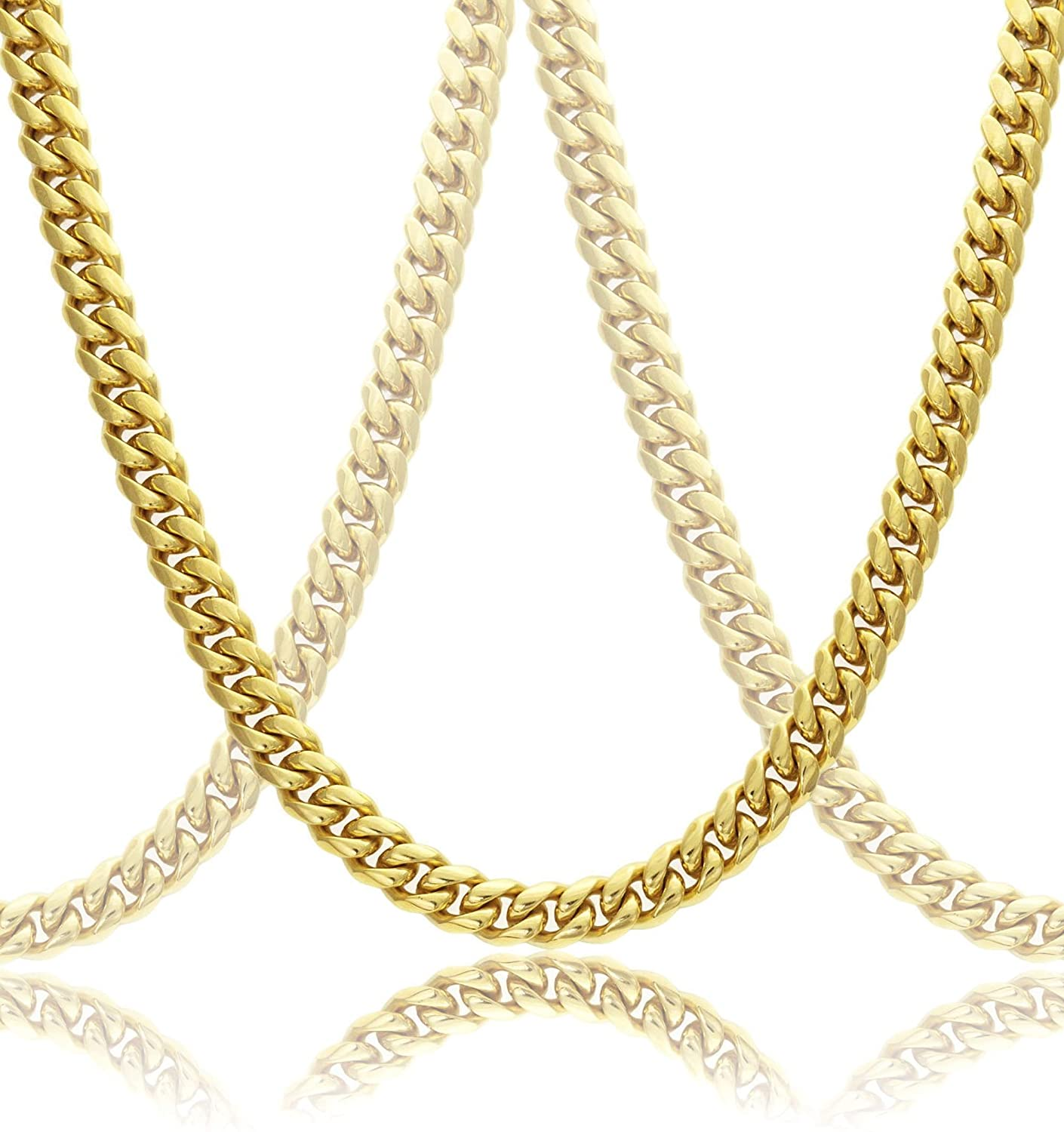 c8d412c2e8d Amazon.com: Gold Cuban Link Chain Necklace For Men Real Solid 18k Plated +  Luxury Gift Case: The Dubai Link: Health & Personal Care