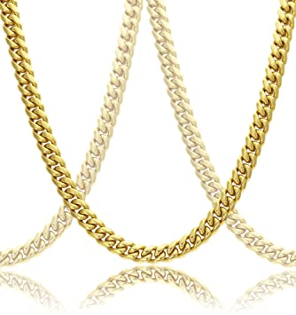 d70fb75e71f1f Gold Cuban Link Chain Necklace For Men Real Solid 18k Plated + Luxury Gift  Case