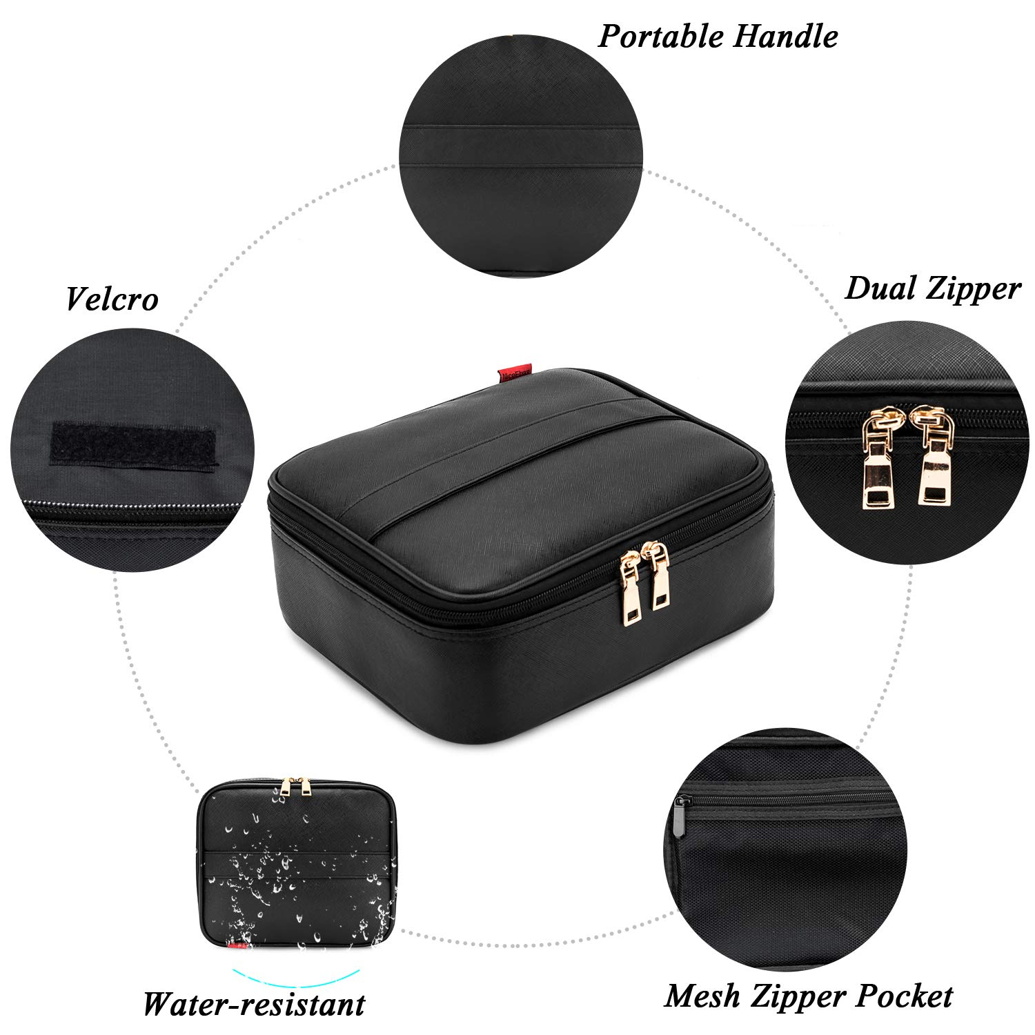 Makeup Bag NiceEbag Travel Cosmetic Bag for Women and Men Cute Makeup Case Leather Cosmetic Case with Adjustable Padded Dividers for Cosmetics Make Up Tools Toiletry Jewelry,Black by NiceEbag (Image #7)