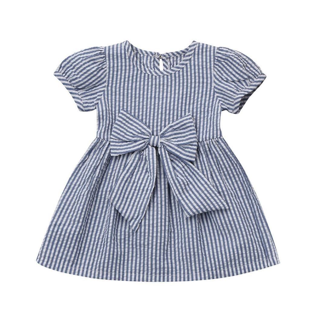 feiXIANG mädchen Kleid kleinen kinder A-Linie Knopf kleidung streifen prinzessin outfits kleid Baby Kurzarm gestreiften gedruckt Kleid Rock Kleid Rundhals Swing Kleid
