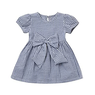 5ebddc54b2 Lurryly Baby Girls Dresses Summer Stripe Bow Dress Kids Sundress Clothes  Clothing Outfit