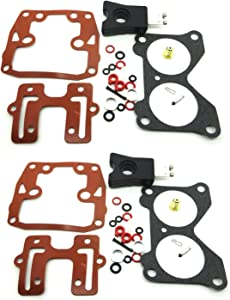 ConPus Carburetor Repair Kit For 18-7046 439076 with Float Johnson Evinrude Twin Carb Rebuild Kit V4 85 90 100 115 125 140 HP