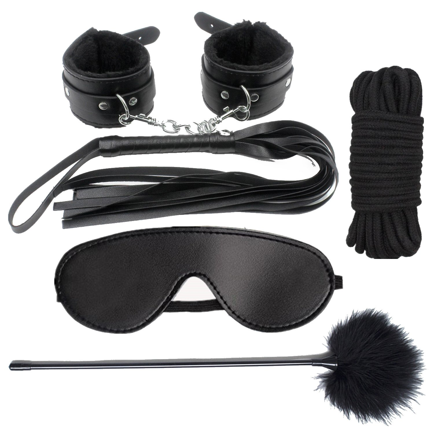 BDSM Restraint Kit, iMiMi Under Bed Restraint Sex for Sex Play Bondage Collection Sets Sex Tings with Furry Cuffs Handcuffs, Blindfold, Feather for Couples